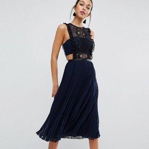 ASOS Lace Pinafore Pleated Midi Dress - Size 8